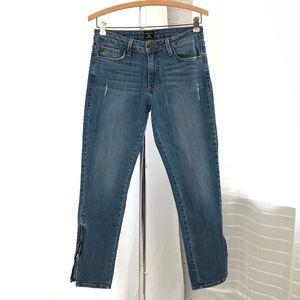 Just Black High Waist Mom Jeans with Zipper Hems